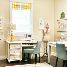 Home office design/decorating. Everybody needs a place to work, and this is mine at home. Soft, pretty colors and lots of work space.