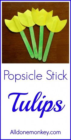 Preschool crafts Popsicle Sticks - Spring Flower Craft Popsicle Stick Tulips Naw Ruz Spring Flower C Spring Crafts For Kids, Summer Crafts, Projects For Kids, Art Projects, Popsicle Stick Crafts For Kids, Craft Stick Crafts, Craft Ideas, Plate Crafts, Yarn Crafts