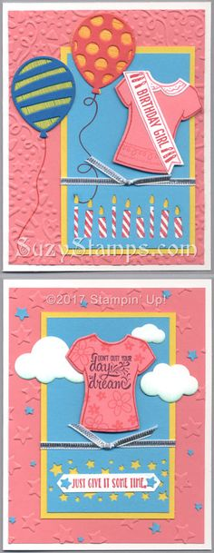 Stampin' Up! Cards - Custom Tee and Designer Tee Stamp Sets, T-shirt Builder Framelits Dies, Balloon Adventures and Gorgeous Grunge stamp sets, Balloon Pop-Up Thinlits Dies, Balloon Bouquet Punch, Candle and Confetti Stars Border Punches, Confetti and Lucky Stars Embossing Folders