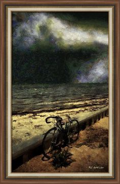"""Bike at the Beach"" ~ © 2016 RC deWinter ~ A lone bicycle sits by the shore on a summer night at Long Beach Island, New Jersey. Shown here as a framed 18.13"" x 30.00"" print on Somerset Velvet paper, overall size with frame 22.5"" x 34.38"". Available in a variety of media, sizes and configurations."