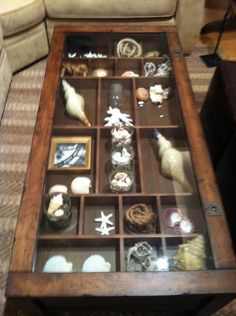 coffee tables with display cases your own collection in this glass topped display case coffee table Shadow Box Coffee Table, Glass Top Coffee Table, Cool Coffee Tables, Coffee Table Display Case, Shabby Chic Design, Shell Crafts, Displaying Collections, Coastal Decor, Decoration