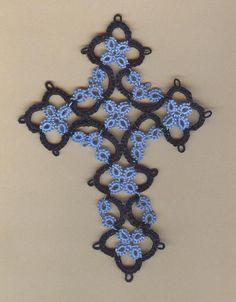 Shuttle Tatted lace cross by donatajones on Etsy, $7.50