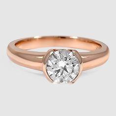 14K Rose Gold Petite Semi-Bezel Ring // Set with a 0.88 Carat, Round, Ideal Cut, G Color, VVS2 Clarity Lab Diamond #BrilliantEarth