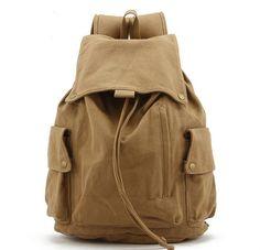 6173bb8f11f4 Vintage canvas hiking travel military backpack messenger tote bag l122