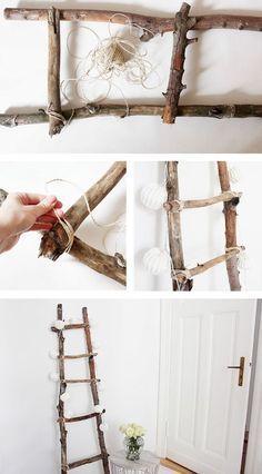 Decoration ladder DIY Tutorial diy home decor wood Dekoleiter Selber Bauen Diy Para A Casa, Diy Casa, Diy Ladder, Ladder Decor, Ladder Storage, Wood Ladder, Upcycled Home Decor, Diy Home Decor, Wood Projects