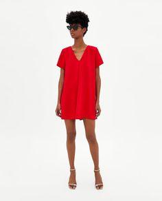 This in black V Neck Dress, New Dress, Shirt Dress, Cute Dresses, Casual Dresses, Women's Dresses, Mini Dresses, Zara Red Dress, Dress Red