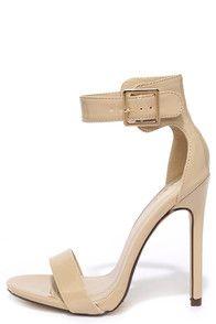 Cute Beige Heels - Ankle Strap Heels - Single Strap Heels - $24.00