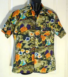 Hawaiian Shirt Vintage Aloha Shirt Mens medium by plattermatter, $38.00