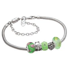 Persona Green Themed Bracelet With Five Beads In Sterling Silver 7 5 Zales Peoples