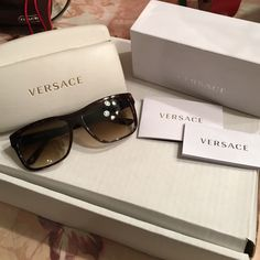 Versace sunglasses Dark brown tortoise shell frames. Dark brown lenses. 100% authentic. Like new. Comes with original case and case box and original warrantee paper. Versace Accessories Sunglasses