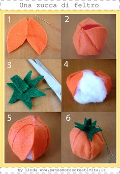 Pattern and How To ala Tasty Art Shop Felt tips : (taken from other site.) From : paneamoreecreativita ta. Thanksgiving Crafts, Fall Crafts, Crafts For Kids, Sewing Toys, Sewing Crafts, Halloween Pillows, Crochet Fall, Felting Tutorials, Felt Patterns