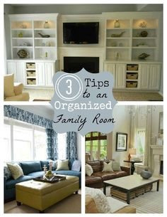 Creative storage solutions for containing clutter in a family/living room.