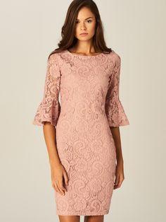 Ołówkowa sukienka z koronki, SUKIENKI, KOMBINEZONY, rÓŻowy, MOHITO