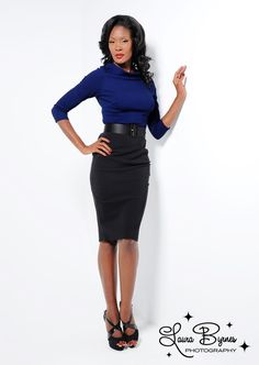 Joanie Top in Navy Knit With Black Pencil Skirt from Laura Byrnes Black Label. Model: Angelique Noire
