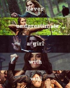 Harry Potter's Hermione Granger, The Hunger Games' Katniss Everdeen, The Mortal Instruments' Clary Fray, Vampire Academy's Rose Hathaway, and Divergent's Tris Prior... You Need To Put In Annabeth Chase From Percy Jackson!!