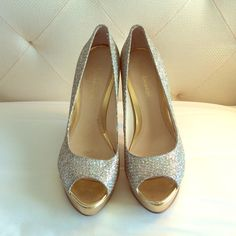 Silver & Gold Glitter/sparkle Heels Worn once for an NYE party. Super cute and comfy. Gold sole with silver sparkle pattern Enzo Angiolini Shoes Heels