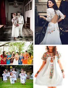 Aún quedan días de verano, perfectos para lucir vestidos mexicanos. Inspiración boho y vintage tanto para vestir como para bodas.