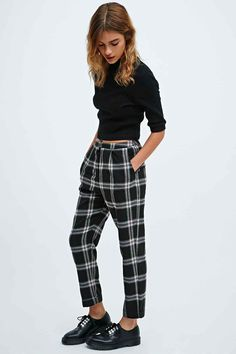 Cooperative Skinny Check Trousers in Black - Urban Outfitters urban outfitters fashion