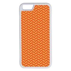 CellPowerCasesTM Herringbone Red and Orange iPhone 6 (4.7) V1 White... ($9.98) ❤ liked on Polyvore featuring accessories, tech accessories and white