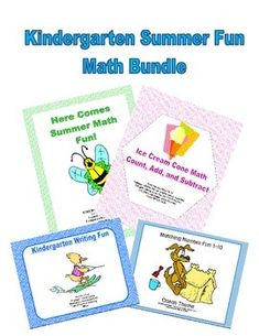 This product has a fun summer theme and a total of 45 pages.  Coloring and a maze and activities make this a fun way to review Kindergarten math skills. It includes 4 products that are offered in my store separately. There is a 20% reduction in cost if purchased in this bundle.