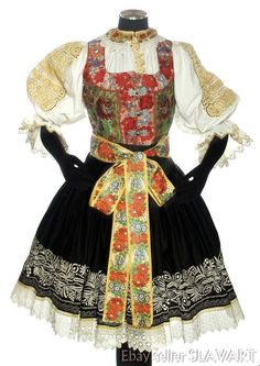 ANTIQUE Slovak folk costume antique embroidered blouse skirt apron ethnic KROJ