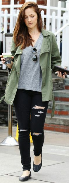 minka Kelly wearing Cargo jacket and black distressed skinny jeans. perfect casual outfit
