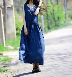 3-color Loose Fitting Maxi Dress - Summer Dress  Linen Sundress  Cotton dress for Women-Sleeveless C53 on Etsy, $68.00