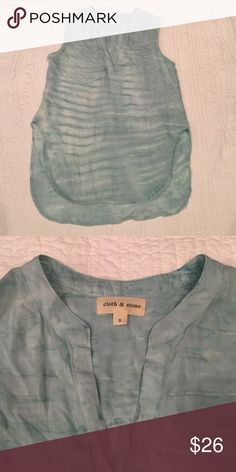 Cloth & Stone hi low vneck tank Cloth & Stone by Anthropologie vneck dressy hi low tank, flowy material, green tie dye pattern, size small Anthropologie Tops Blouses
