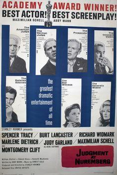 Judgment at Nuremberg – 1961 Spencer Tracy, Richard Widmark, Burt Lancaster, Marlene Dietrich, Maximilian Schell, Judy Garland, Montgomery Clift, William Shatner