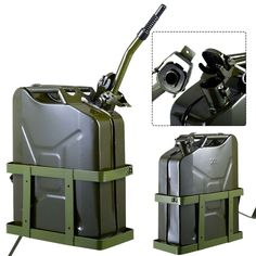 Goplus 5 Gallon Gas Jerry Can Fuel Steel Tank Military Green W/ Holder Sidekick Suzuki, Offroad, Vw Lt, Jerry Can, Metal Containers, Jeep Accessories, Can Holders, Fuel Gas, Military Green