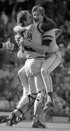 Lance Parrish congratulates his no-hit pitcher, Jack Morris, with a bear hug on April 7, 1984. Mary Schroeder | Detroit Free Press | freep.com