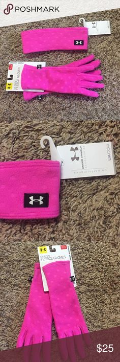 Under Armour Girls Headband & Gloves Pink fleece headband and gloves for girls. Has a cute polka dotted pattern. Gloves are a youth large, Headband is one size. Super cute! Under Armour Accessories Mittens