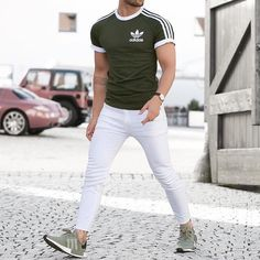 Yay or nay? Please, Comment below (: Latest Mens Fashion, Urban Fashion, White Jeans Outfit, Mens Style Guide, Adidas Fashion, Swagg, Fashion Outfits, Men's Fashion, Street Wear