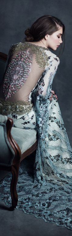 Jeweled back Notre Dame by Claire Pettibone, Photo: Emily Soto https://couture.clairepettibone.com/collections/gothic-angel-wedding-dresses/products/notre-dame