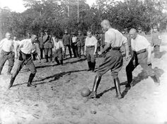 German troops playing football behind the lines, 1915.   The Most Powerful Images Of World War I
