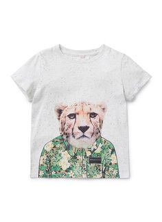 100% cotton short sleeve tee with front cheetah with floral shirt digi print and speckle base