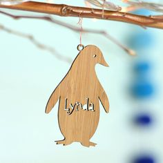 Personalised Bamboo Penguin Christmas Decoration