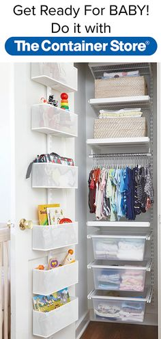 Even the smallest space can be maximized by elfa! Look how we transformed this tiny space. This nursery closet has it all. The elfa utility Door & Wall Rack adds even more storage, while Shelves, Drawers and a Closet Rod keep everything from clothes to baby supplies neat and organized.