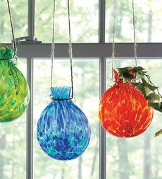 Mouth Blown Crackle Textured-Glass Rooting Jars with Hanging Loops