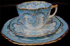 Pretty Blue and Gold Rimmed Tea Cup And Saucer Trio Set Tea Cup Set, My Cup Of Tea, Tea Cup Saucer, Tea Sets, Cup Cup, Vintage Cups, Vintage Pyrex, Vintage Tea, Vintage China