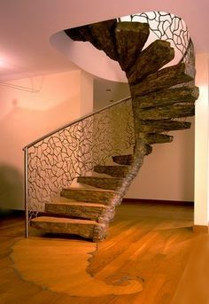 marvelous spiral staircase. Great textures.