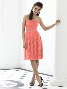 Coral bridesmaid dress.