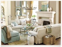 Popular ways to create an elegant look and expand the space of your living room at the same time is with light and neutral colors.