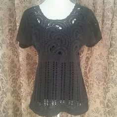 *FINAL PRICE* BOHO CROCHETED KNIT TOP * Beautiful crochet pattern in front * Solid pattern in back with ribbing at waist * Attached tank lining * Super cute with jeans or shorts! * Color: Dark chocolate brown * Excellent condition!   Reasonable offers always considered. Over 170 items listed so take a look and bundle to save more! Tops Blouses