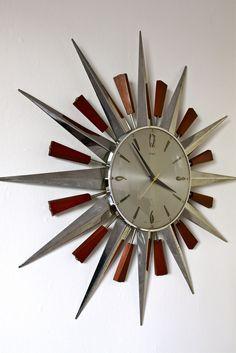 https://flic.kr/p/a5sini | Metamec Starburst / Sunburst teak and aluminium wall clock, circa 1960's | Metamec Starburst / Sunburst teak and aluminium wall clock, circa 1960's