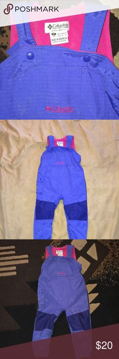 Snow Overalls Cold for Girls, Weather Kids. Columbia  Sportswear Company. Size 4T.  No stain or rips, no smoke free and pet free. Columbia Bottoms Overalls