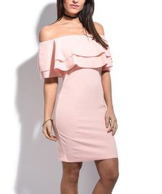 Look at this #zulilyfind! Light Pink off-Shoulder Frill Bodycon Dress. #zulilyfinds
