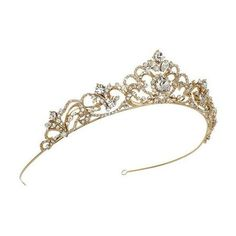 USABride Elizabeth Rhinestone Crown TI-3157-G ❤ liked on Polyvore featuring hair accessories and tiara