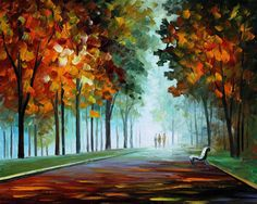 "Morning Fog — PALETTE KNIFE Landscape Oil Painting On Canvas By Leonid Afremov - Size: 30"" x 24"" (75cm x 60cm)"