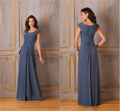 Jasmine Scoop Neckline Short Sleeves Mother of the Bride Dresses Long Pleated Chiffon with Applique Floor Length A-line Zipper Mum Dress Hot from Marrysa,$123.58 | DHgate.com